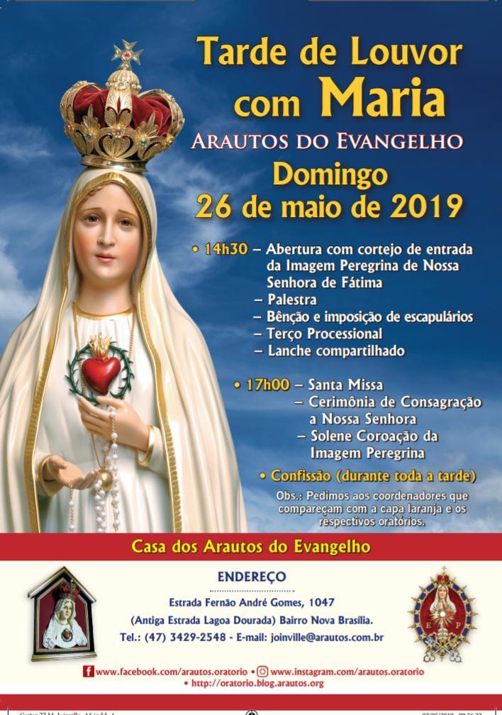 Venha participar da tarde de louvor com Maria!